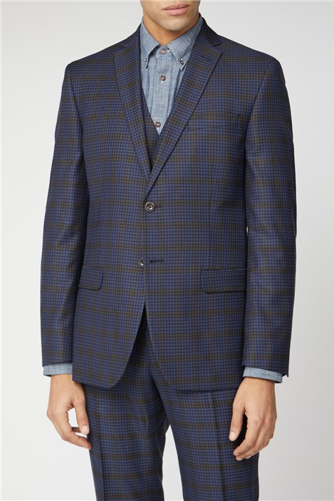Ben Sherman Blue Mustard Shadow Check Tailored Fit Suit