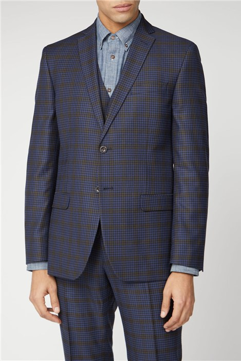 Ben Sherman BS Signature Tailoring Blue mustard shadow check tailored fit suit jacket