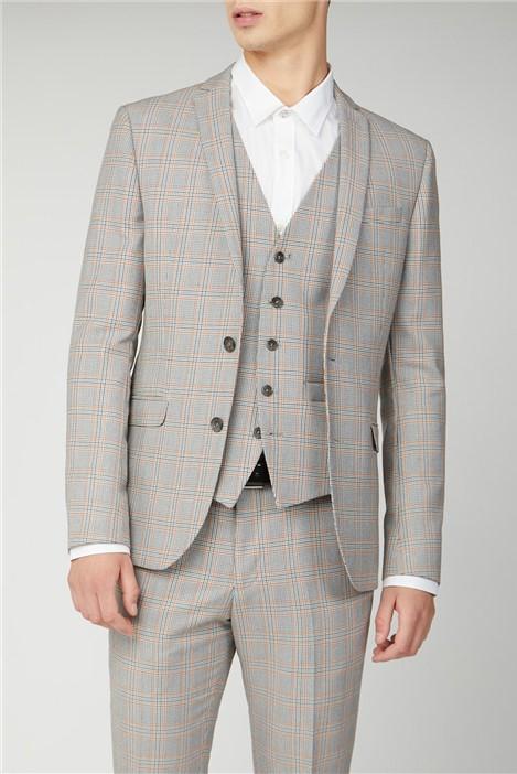 Ben Sherman Grey Orange Prince of Wales Check Skinny Fit Suit
