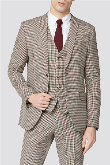 Ben Sherman Red Black Puppytooth Slim Fit Suit
