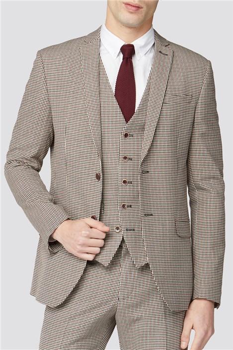 Ben Sherman Red & Black Puppytooth Slim Fit Suit