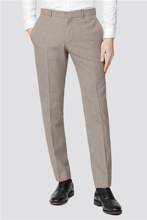 Ben Sherman Red Black Puppytooth Slim Suit Trousers
