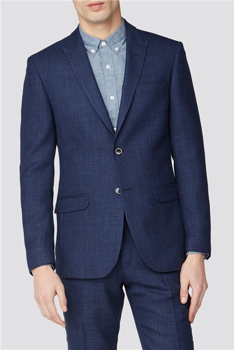 Ben Sherman Blue Geo Structure Tailored Fit Suit