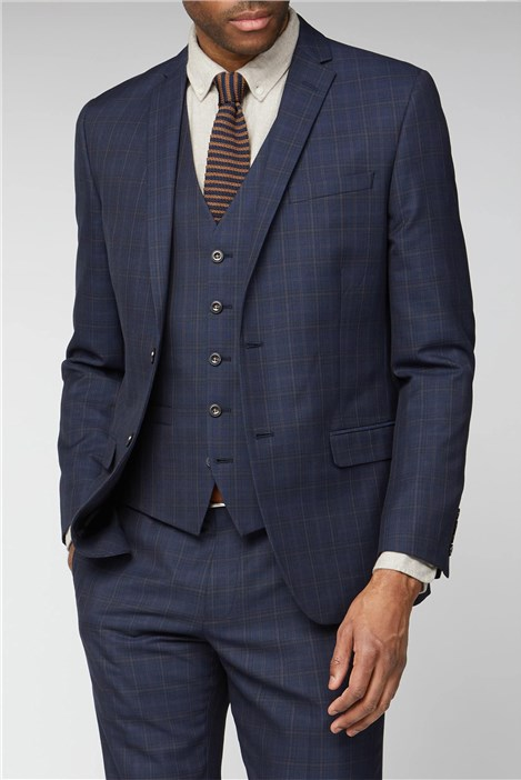 Limehaus Navy Blue & Caramel Checked Slim Fit Suit