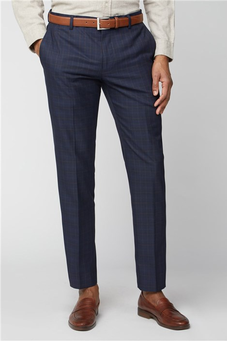 Limehaus Navy Blue & Caramel Checked Slim Fit Suit Trousers