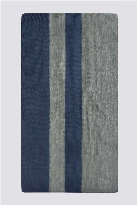 Jeff Banks Navy Grey Block Stripe Scarf