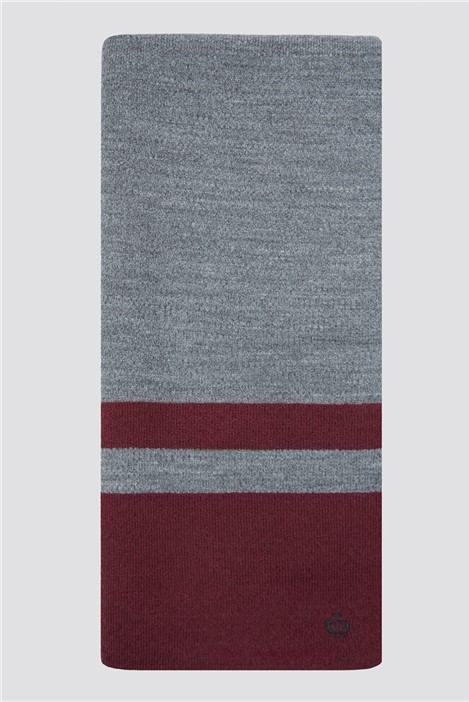 Jeff Banks Grey Burgundy Striped Knitted Scarf