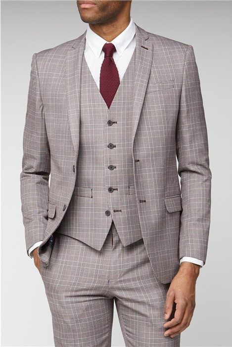 Ben Sherman Pink Prince of Wales Check Slim Fit Suit