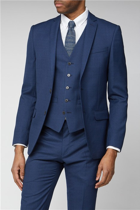 Ben Sherman Navy Micro Check Slim Fit Suit