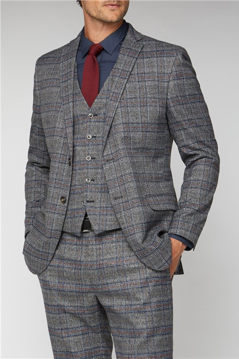 Racing Green Charcoal & Blue Checked Suit Jacket