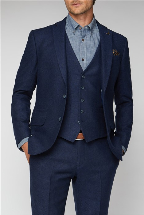 Racing Green Blue Herringbone Tailored Fit Suit