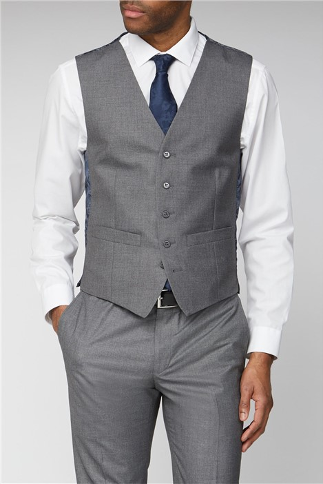 Occasions Grey Plain Adjustable Fit Waistcoat