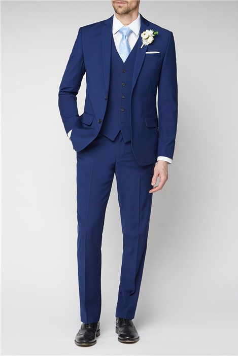 Occasions Blue Plain Regular Fit Suit