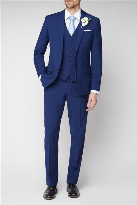 Occasions Blue Plain Regular Fit Suit Jacket