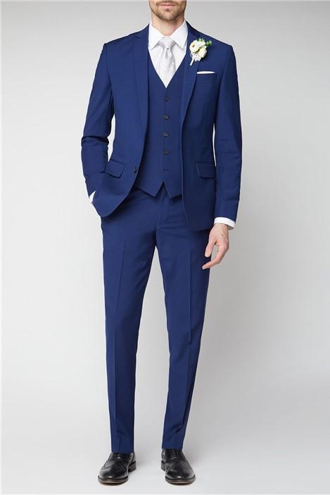 Occasions Blue Plain Tailored Fit Suit