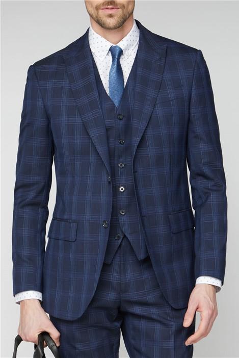 Jeff Banks Navy Check Soho Suit