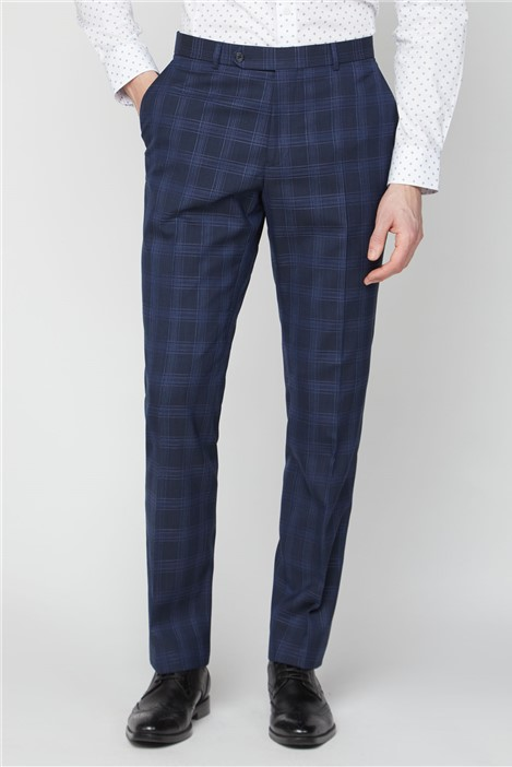 Jeff Banks Navy Check Soho Suit Trousers