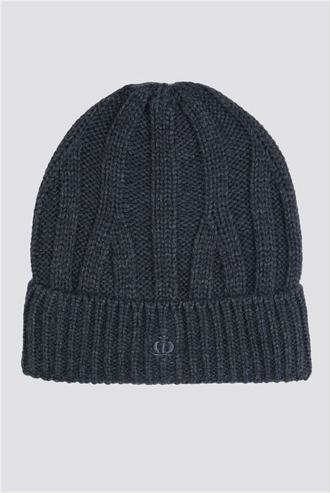 Jeff Banks Charcoal Cable Knit Beanie