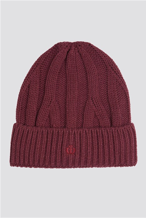 Jeff Banks Burgundy Cable Knit Beanie