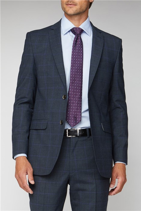 Electric Blue Check Regular Fit Suit