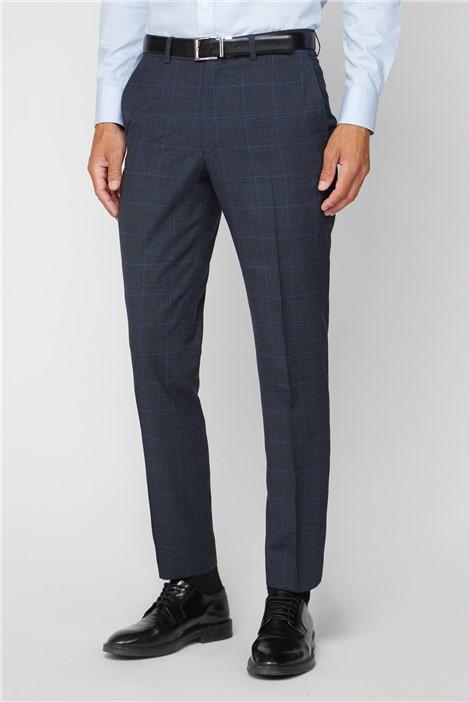 Alexandre Silver Label Electric Blue Check Regular Fit Suit Trouser