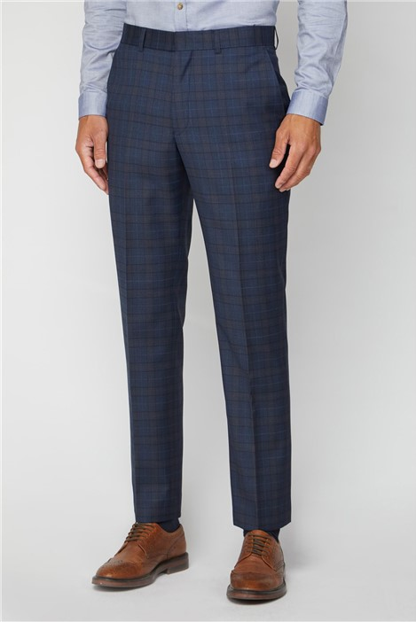 Alexandre Silver Label Deep Blue Caramel Check Regular Fit Suit Trouser