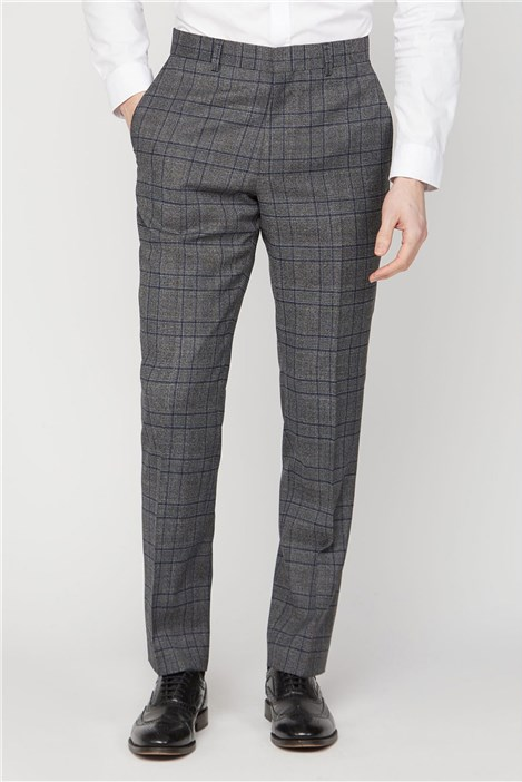 Grey Electric Blue Check Regular Fit Suit Trouser