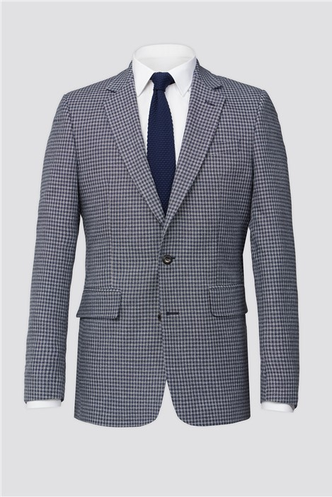 Hammond and Co Blue & Grey Texture Gingham Tailored Fit Suit