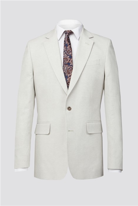 Hammond and Co Putty Linen Herringbone Tailored Fit Suit Jacket
