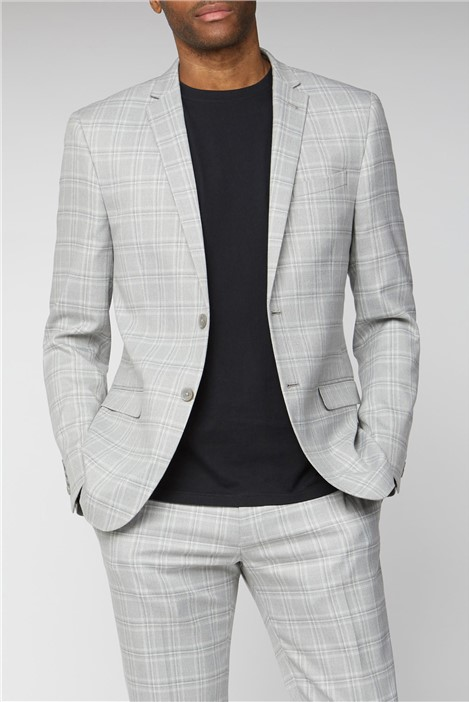Limehaus Grey Tonal Checked Slim Fit Suit