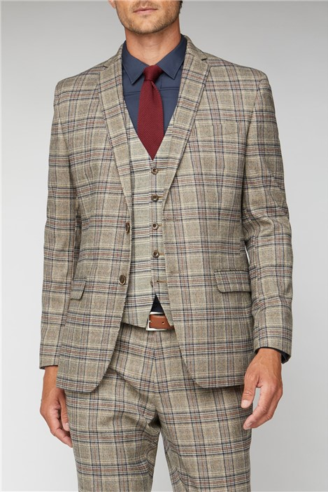 Racing Green Oatmeal Heritage Check Regular Fit Suit Jacket