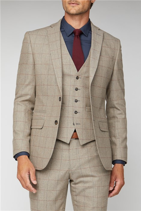 Racing Green Oatmeal Herringbone Check Tweed Tailored Fit Suit