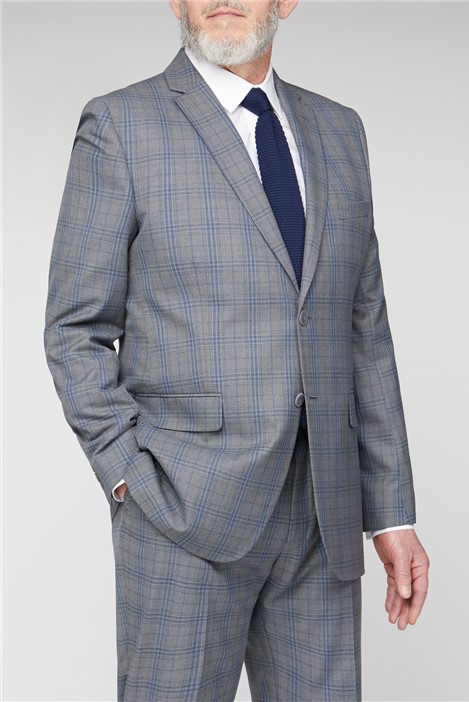 British Tailor Grey Blue Check Big and Tall Suit