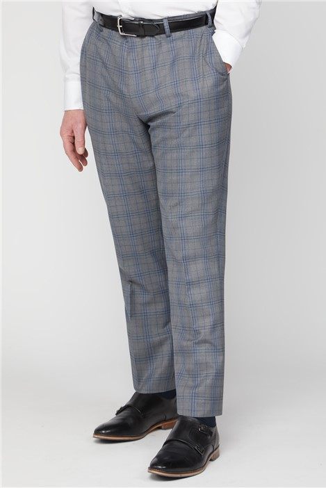 British Tailor Big+Tall Grey Blue Check Big and Tall Suit Trouser