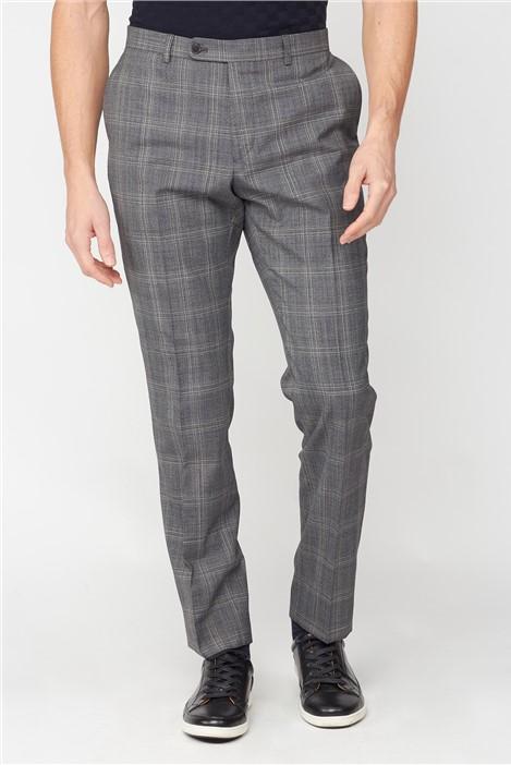 Jeff Banks Grey Jaspe Check Soho Regular Fit Suit Trousers