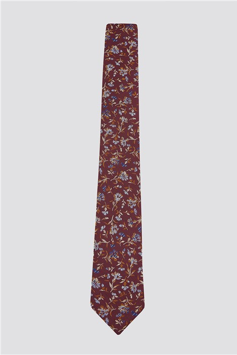 Racing Green Burnt Orange Small Floral Tie