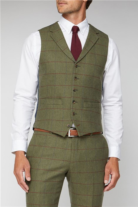 Racing Green Green Heritage Check Tailored Fit Waistcoat