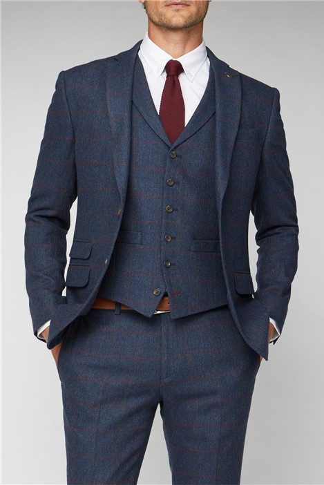 Racing Green Blue Heritage Check Tailored Fit Suit Jacket