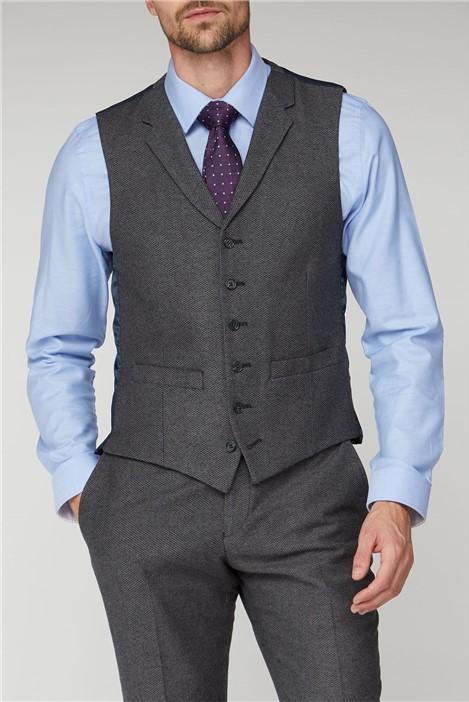 Racing Green Grey Texture Tailored Fit Waistcoat
