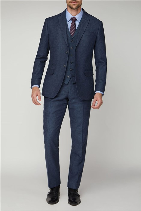 Racing Green Navy Texture Tailored Fit Suit