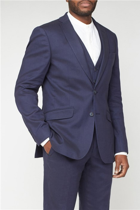 Racing Green Navy Linen Tailored Fit  Jacket
