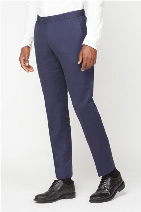 Racing Green Navy Linen Tailored Fit Trouser