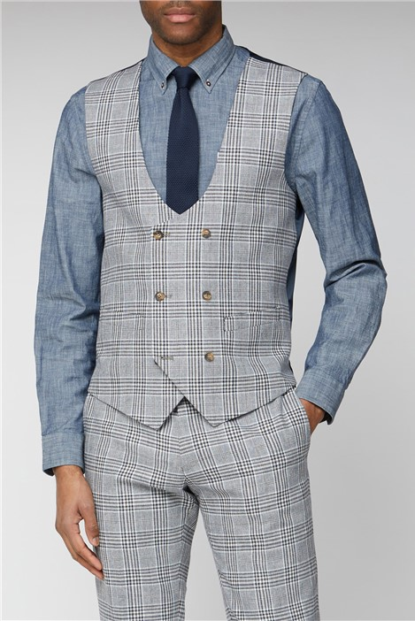 Limehaus Blue Camel Check Double Breasted Waistcoat
