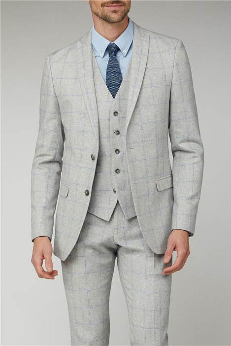 Limehaus Light Grey & Blue Checked Suit