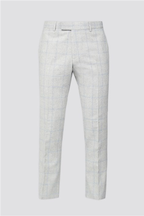 Limehaus Light Grey Blue Check Trouser