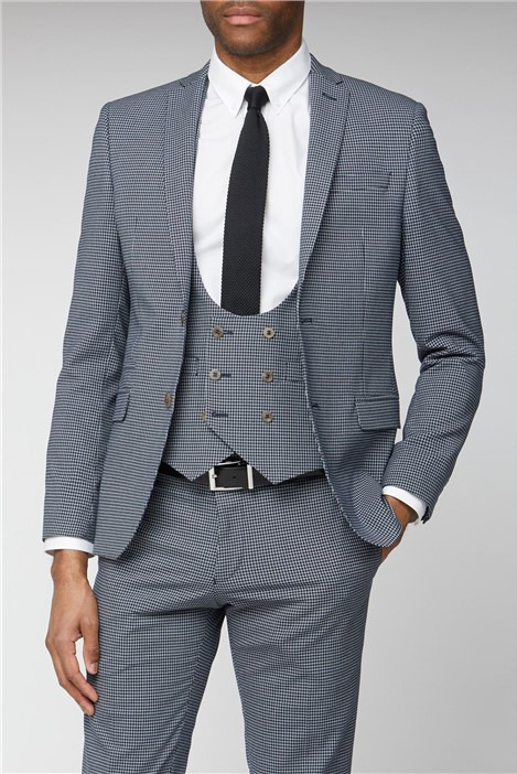 Limehaus Navy Micro Check Skinny Fit Suit
