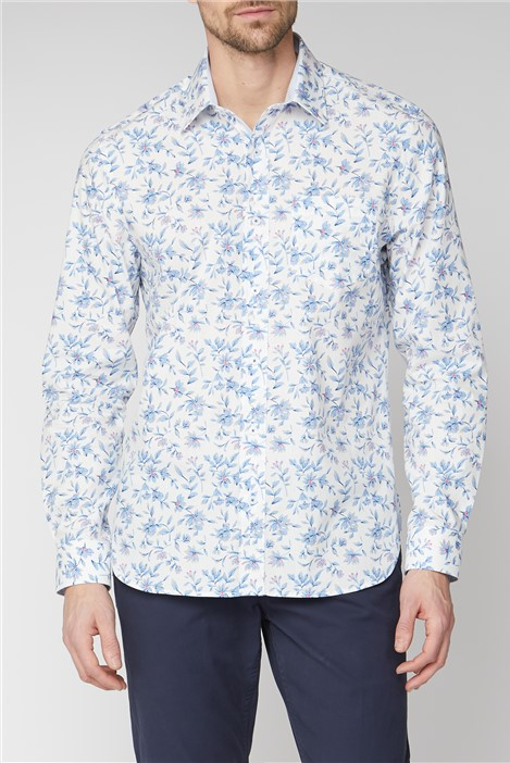 Jeff Banks Casual White Sketch Floral Print Shirt