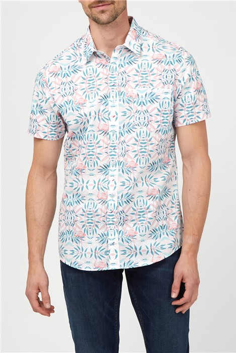 Jeff Banks Casual Pink Flamingo Print Shirt