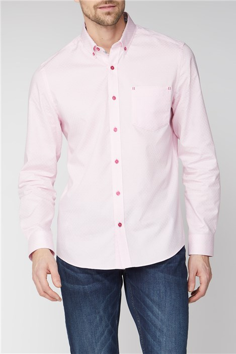 Jeff Banks Casual Pink Weave Check Shirt