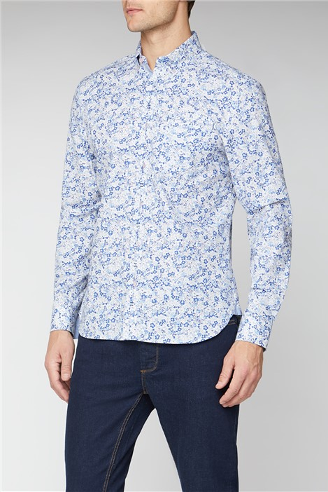 Jeff Banks Casual Blue Floral Print Shirt